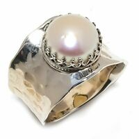 South Sea Pearl Natural Gemstone Handmade 925 Sterling Silver Ring Size 7 R-98