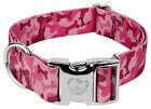Country Brook Petz® 1 1/2 Inch Premium Pink Bone Camo Dog Collar