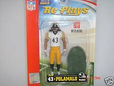 RARE NFL RE-PLAYS Series 4 TROY POLAMALU Pittsburgh Steelers Action Figure NEW