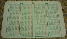 Rolex Pocket Calendar Card Vintage  1995 - 1996 Very Collectible ! - USA Seller
