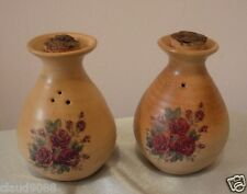 EARTHLY COLLECTIONS  POTTERY COTTAGE ROSE SALT & PEPPER