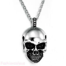 Gothic Polished Stainless Steel Chain Skull Head Pendant Men's Boy's Necklace