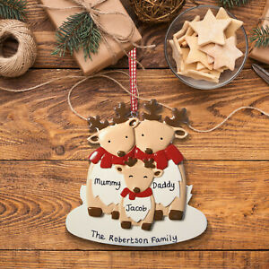 Personalised Christmas Decoration Deer Family 2 3 4 5 6 My 1st Xmas Baby Gift