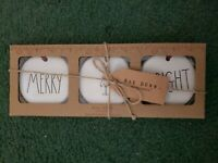 Rae Dunn Merry & Bright Christmas Ornaments Still In Box