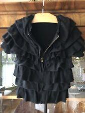 Jcrew Crewcuts Girls Black Ruffled Zip Cardigan Sweater Size 6/7