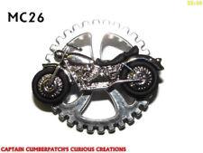 steampunk pin badge brooch motorbike motorcycle on silver gearwheel cog #MC26