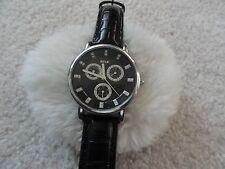 Relic Quartz Men's Watch - Three Sub Dials - Black Leather Band - Water Resist