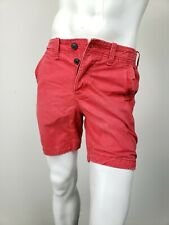 ABERCROMBIE & FITCH Classic Fit Shorts Red Lightly Distressed Cotton sz 30 NWT