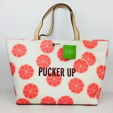 Kate Spade Pucker Up Grapefruit Francis Tote Canvas Leather Bag New Handbag $198