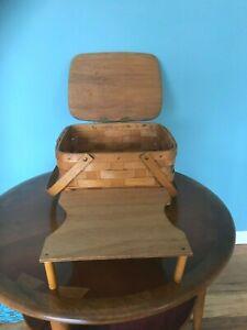 Vintage  Woven Wood Splint Picnic Pie Basket~Wooden Swing Handles~Hinged Lid