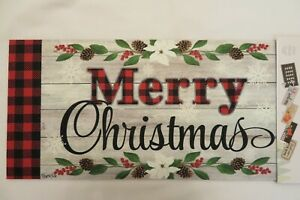 """""""Merry Christmas"""" Buffalo Checks Sassafras Rug Insert Switch Door Mat 10x22"""