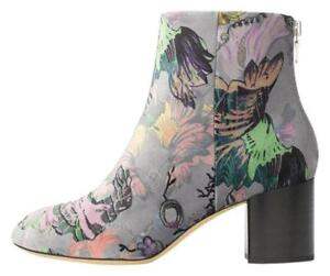 Rag & Bone New Drea Grey Floral Print Velvet Ankle Boot (Size: 37EU/6.5US)