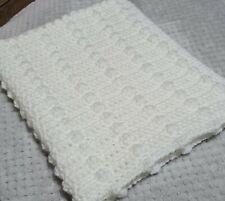 handmade crochet bobble stripe baby blanket. White. Cot, pram, cradle, car seat