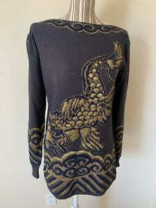 CHELSEA COLLECTION  SWEATER  Small ASIAN NAVY/GOLD EMBELLISHED KOI FISH