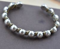 "Silpada Sterling Silver Brass Wire Wrapped Beaded Cuff Bracelet B0521 7.5"" HTF"