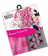 All New Fabric Shower Curtain Set Disney 12 Matching Hooks (Minnie) Minnie