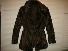 1d20cb05fcbc NEW LOOK BROWN FAUX FUR COAT/JACKET WITH A BELT size UK10 unused (1.0