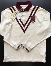 Hackett Rugby Polo Shirt Blouse Men's Long Sleeve  Cream Wine Red Size L