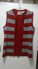 Ladies size 10 Woollen Vest red and grey - made in Italy