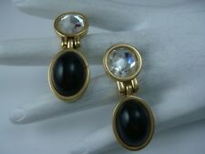VTG GENUINE SWAROVSKI SAL CLEAR CRYSTAL BLACK CABOCHON PIERCED DANGLE EARRINGS
