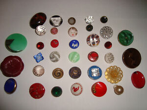 Antique Vintage LOT of 36 glass, WAISTCOAT, CHARM, BABY, ART DECO, DOG buttons