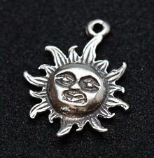 Sterling Silver Sun Pendant Charm 925 STAMP Celestial Star Scrap Jewelry Vintage