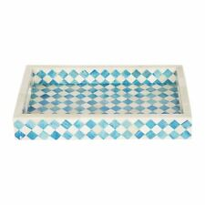 Handicrafts Home 12x8 Turquoise White Decorative Tray Breakfast Coffee Table Top