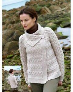 Aran Crafts One Button Knit Aran Wool Irish Cardigan (Oatmeal)