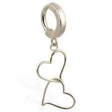 Solid 14k White Gold Double Heart Belly Button Ring by TummyToys