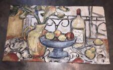 "NEW Jacquard Still Life Fruit & Wine Tapestry Wall Hanging w/ Rod 52"" x 30"""
