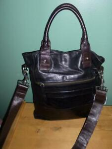 COUNTRY ROAD GENUINE BUTTER SOFT LEATHER CROSS BODY BAG BLACK/BROWN