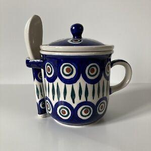 Boleslawiec Wiza Polish Pottery Tea infuser Cup With Lid & Spoon Peacock Eye
