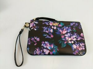 Victoria Secret Cosmetic Bag Clutch Black With Pink & Purple Flower Zipper NWOT