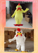 Halloween Adult White / Yellow Funny Chicken Mascot Costume Party Xmas
