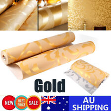 10m Luxury Gold Wall Paper Roll Damask Embossed Feature 3d Textured Wallpaper