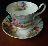 ROYAL ALBERT tea cup and saucer Country Scene Harvest song rose pattern teacup
