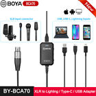 New BOYA BY-BCA70 XLR Audio Adapter for XLR Microphones to PC Mobile w/ Type-C