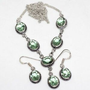 Peridot 925 Silver Plated Handmade Necklace Earrings Set Unique Jewelry GW