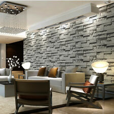 Grey Charcoal Slate 3D Effect Stone Brick Textured Wallpaper Wall Backdrop  Decor