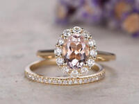 Ct Oval Pink Morganite Simulant Diamond Engagement Ring Set Silver Rose Gold Fns