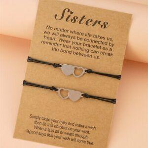 2Pcs Friendship Heart Sister Card Bracelet Stainless Steel Hand Braided Bracelet