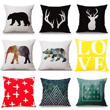 """Modern Deer Bear Elephant Flamingo Cushion Cover Beige Linen Pillow Case(18x18"""")"""