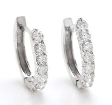 1.11 Carat Natural VS2 Diamonds in 14K Solid White Gold Leverback Earrings