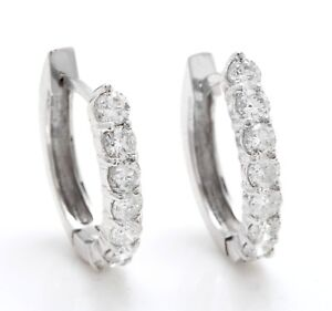 1.10 Carat Natural SI1 Diamonds in 14K Solid White Gold Leverback Earrings
