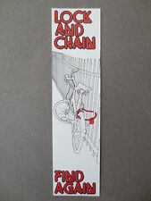 BOOKMARK Bicycle LOCK & CHAIN FIND AGAIN Coded Cycle HMSO 1985 Vintage Old