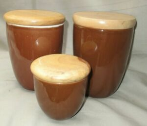 Robert Gordon Pottery Brown Canister Set of 3 CAFE STORY Airtight Wood Lids
