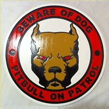 Beware of Dog Pitbull Pit Bull Sign 3D routed wood custom pet sign New