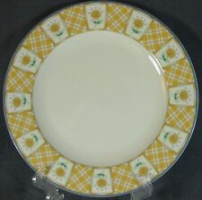 Studio Nova Y0310 Spring Terrace Dinner Plate Yellow Plaid Sunflowers Plates