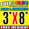 Custom 3' x 8' FT Banner 16oz Vinyl/Flex Outdoor premium Quality Advertise Sign