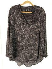 Torrid Black Grey Leopard Long Sleeve Tunic Blouse Top Career Work Womens Sz 2x